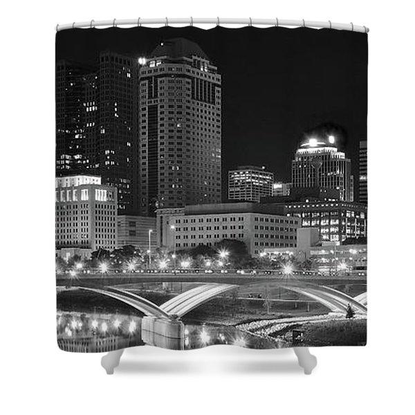 Columbus Panoramic Black And White Night Shower Curtain