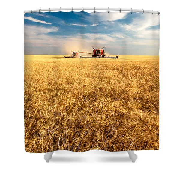 Combines Cutting Wheat Shower Curtain