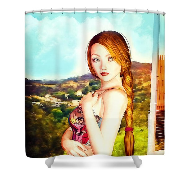 Comic Book Swimsuit Pinup In The Hollywood Hills Shower Curtain