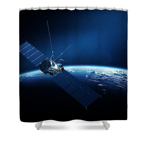 Communications Satellite Orbiting Earth Shower Curtain