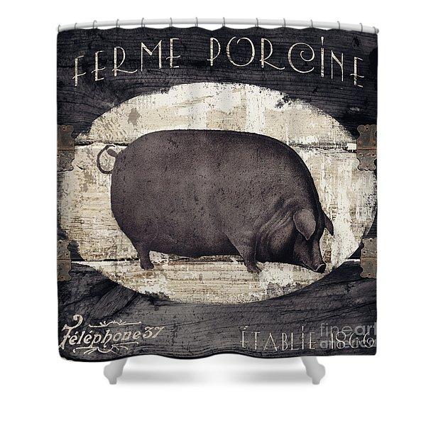 Compagne II Pig Farm Shower Curtain
