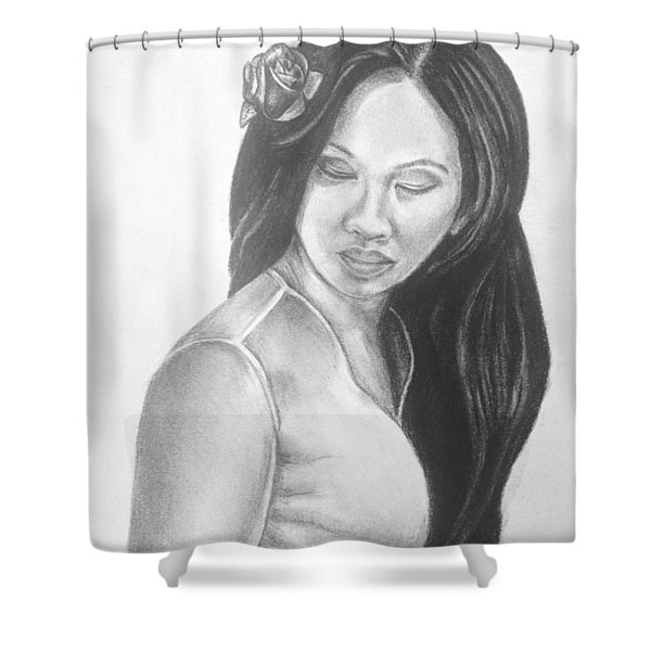 Long Hair Asian Lady With Rose In Sorrow Charcoal Drawing  Shower Curtain