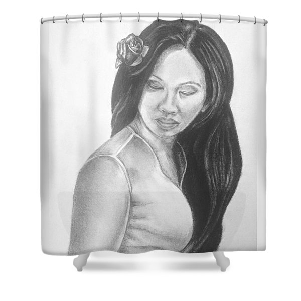 Female In Sorrow Charcoal Drawing  Shower Curtain