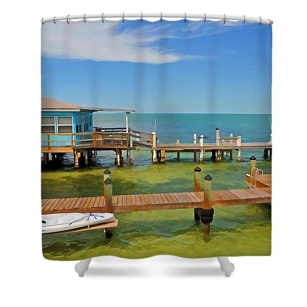 Conch Key Blue Cottage 3 Shower Curtain