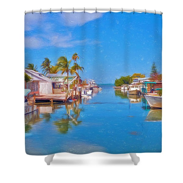 Conch Key Waterfront Living 3 Shower Curtain
