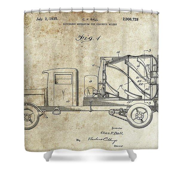 Concrete Mixer Patent Shower Curtain