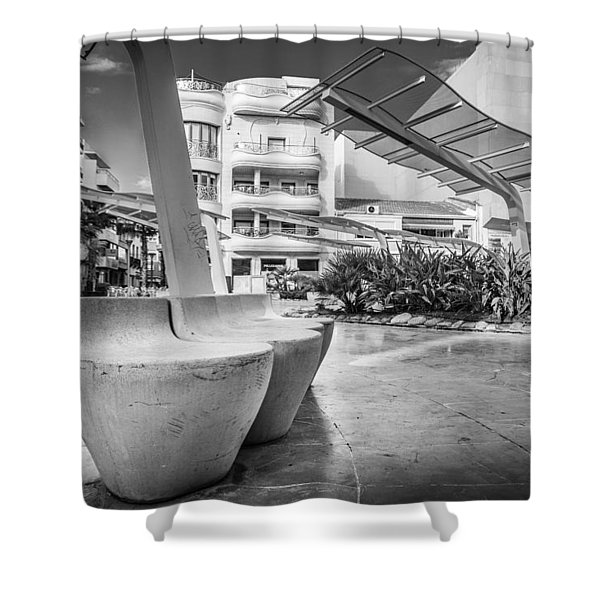 Concrete Seats. Shower Curtain
