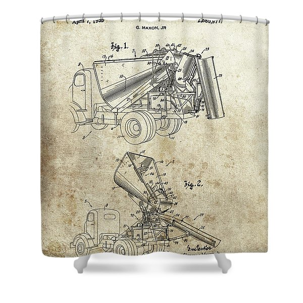 Concrete Truck Patent Shower Curtain