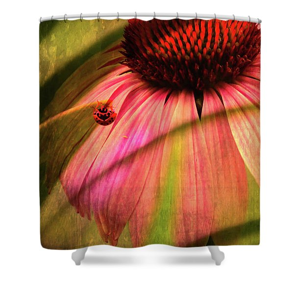 Cone Flower And The Ladybug Shower Curtain