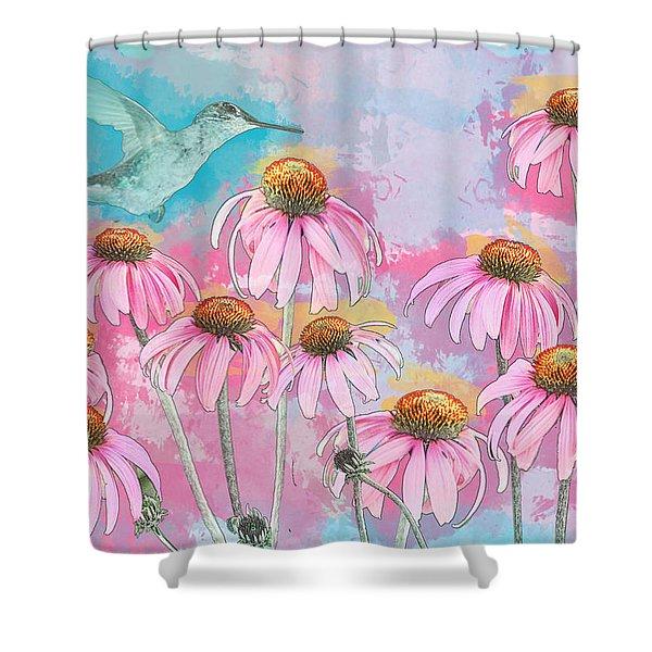 Coneflower Hummingbird Watercolor Shower Curtain