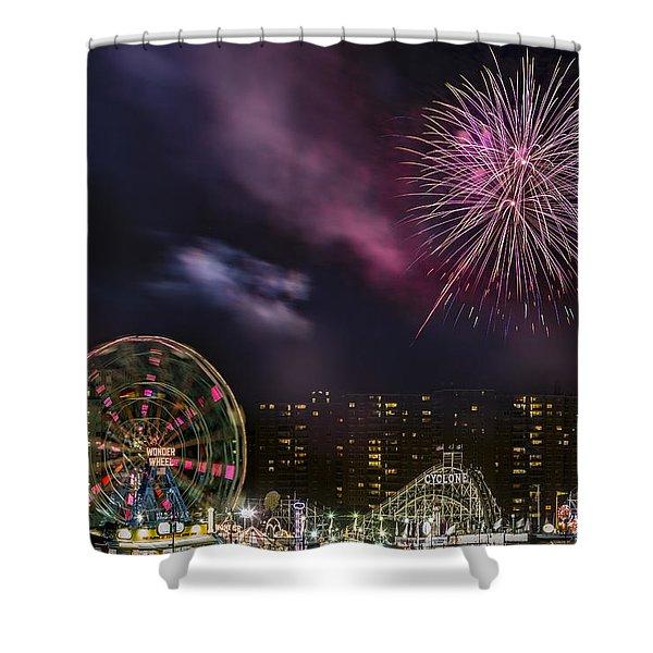Coney Island Fireworks Shower Curtain