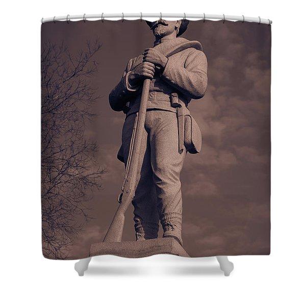 Confederate Statue  Standing Guard Shower Curtain