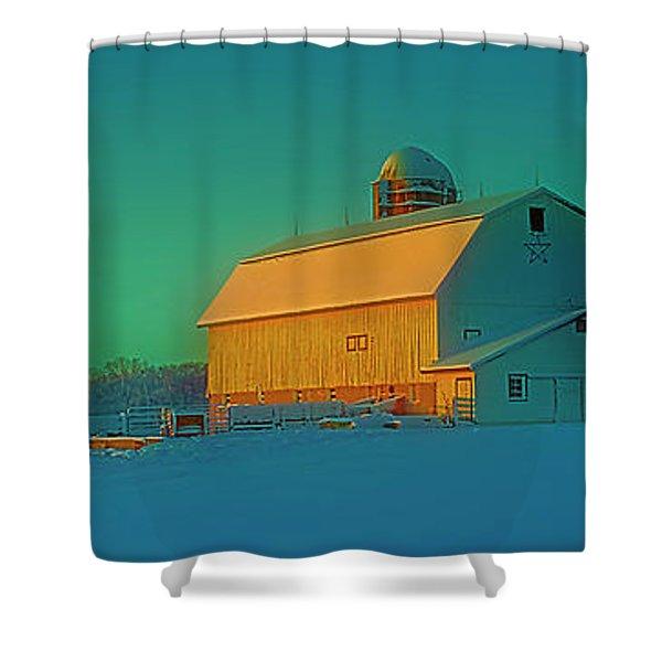 Conley Rd White Barn Shower Curtain