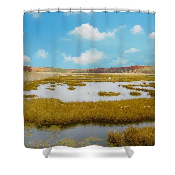 Connecticut Salt Water Marsh Shower Curtain