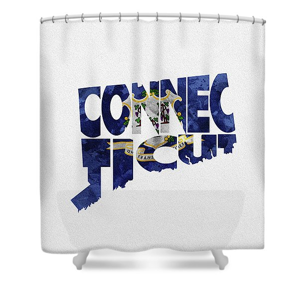 Connecticut Typographic Map Flag Shower Curtain