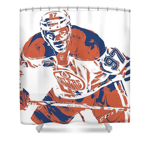 Connor Mcdavid Edmonton Oilers Pixel Art 1 Shower Curtain