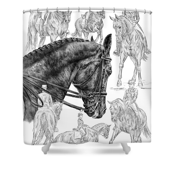 Contemplating Collection - Dressage Horse Drawing Shower Curtain
