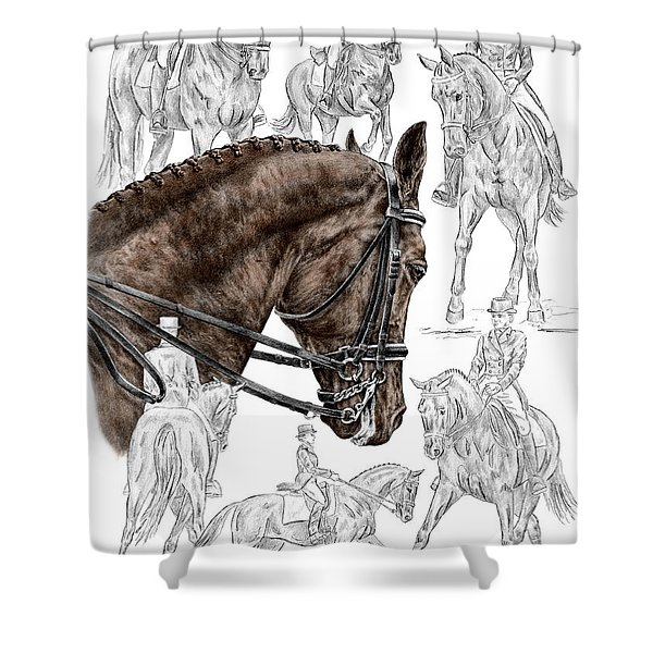 Contemplating Collection - Dressage Horse Print Color Tinted Shower Curtain