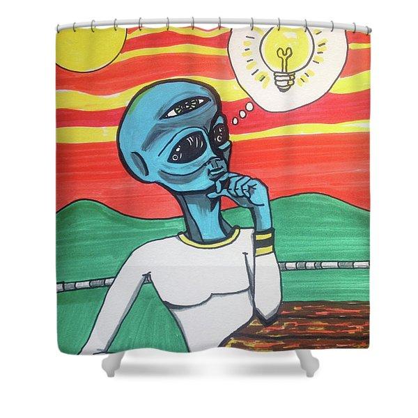 Contemplative Alien Shower Curtain