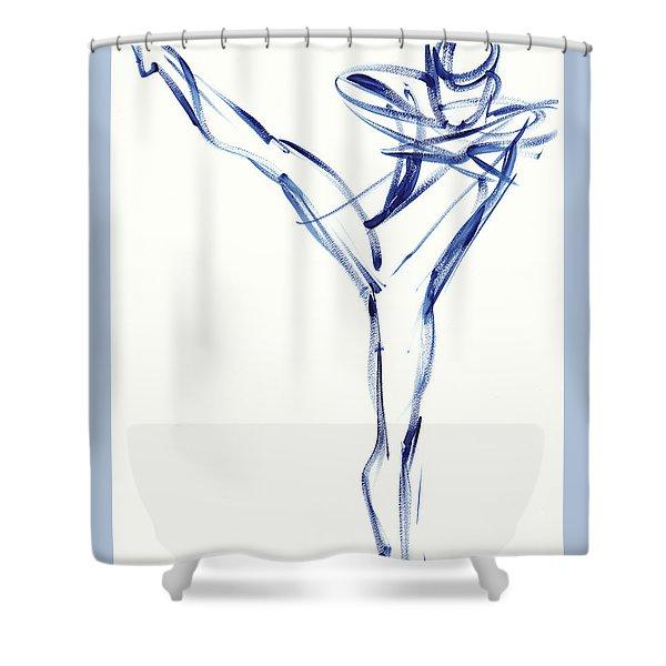Contemporary Ballet Dancer, Blue Shower Curtain