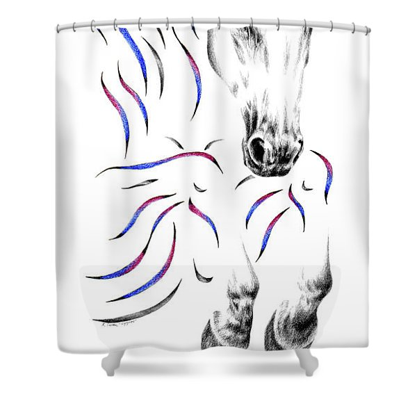 Contemporary Jumper Horse Shower Curtain