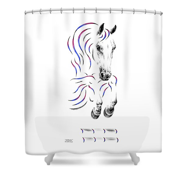 Contemporary Jumper Horse Shower Curtain