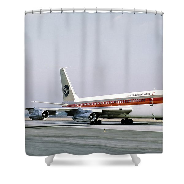 Continental Airlines 720-024b N17207 Los Angeles July 22 1972 Shower Curtain