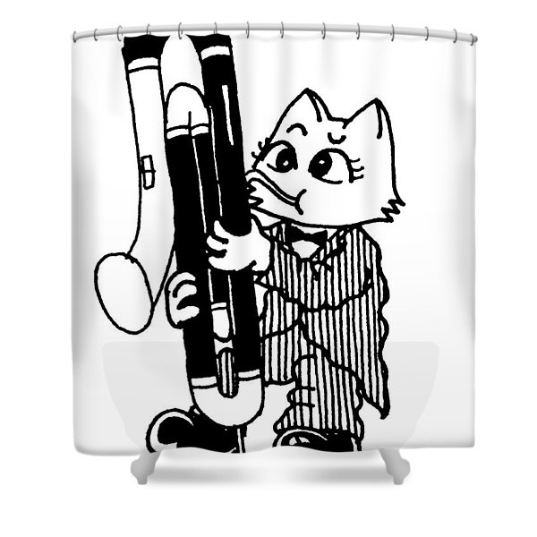 Contra Bassoon Cat Shower Curtain