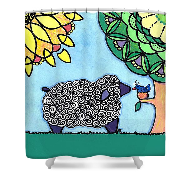 Conversation With A Bird Shower Curtain