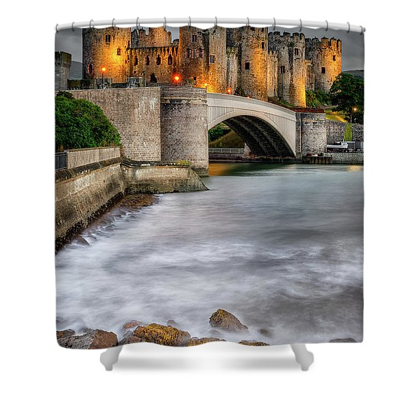 Conwy Castle At Night Shower Curtain