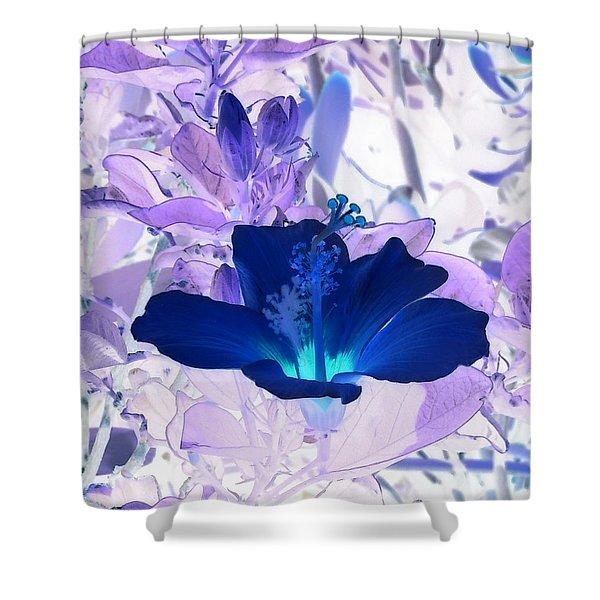 Cool Blue Hawaiian Hibiscus Shower Curtain
