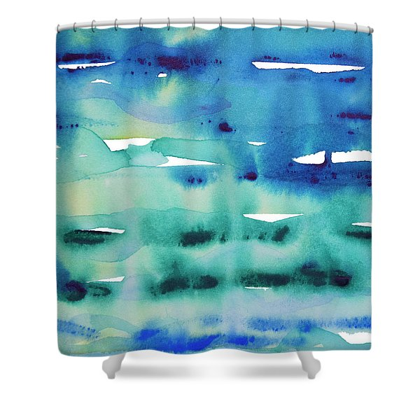 Cool Watercolor Shower Curtain