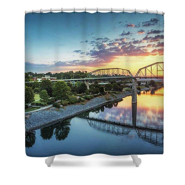 Coolidge Park Sunrise Panoramic Shower Curtain