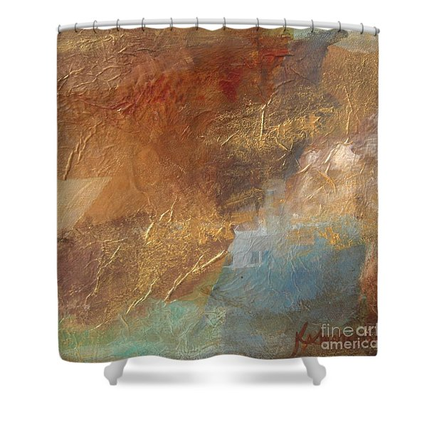 Copper Turquoise Abstract Shower Curtain
