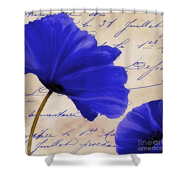 Coquelicots Bleue II Shower Curtain