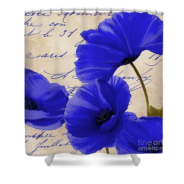 Coquelicots Bleue Shower Curtain