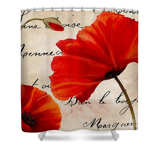 Coquelicots Rouge II Shower Curtain