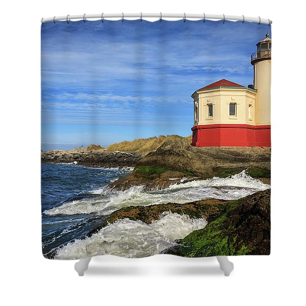 Coquille River Lighthouse At Bandon Shower Curtain