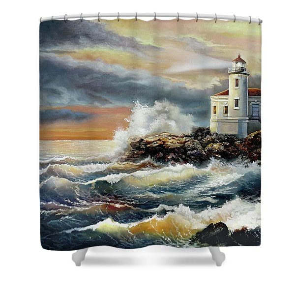 Coquille River Lighthouse At Hightide Shower Curtain