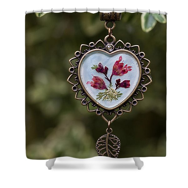 Coral Bell Pressed Flower Pendant Shower Curtain