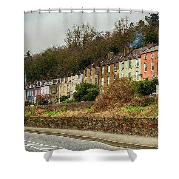 Cork Row Houses Shower Curtain