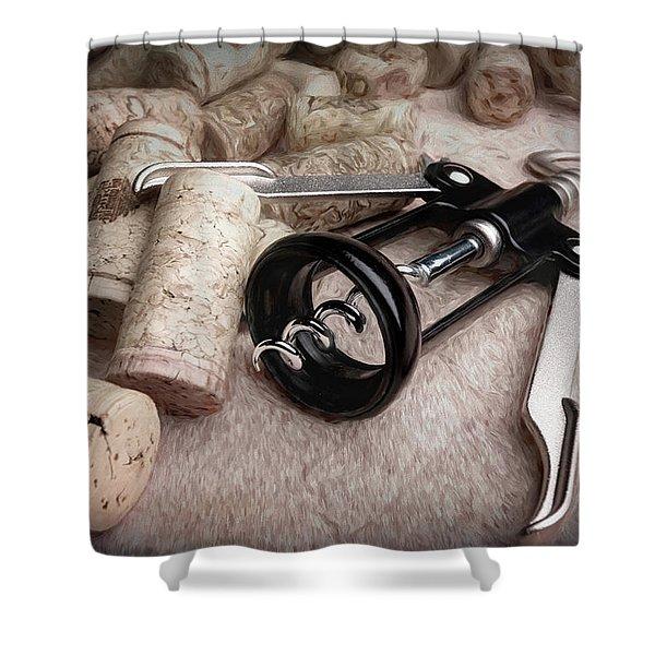 Corkscrew Wine Corks Still Life Shower Curtain
