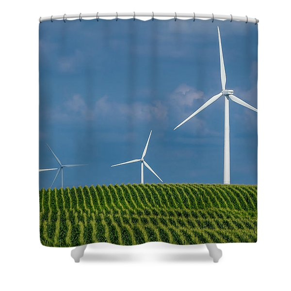 Corn Rows And Windmills Shower Curtain