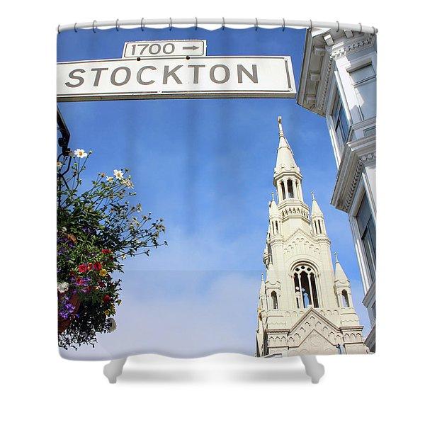 Corner Of Stockton-  By Linda Woods Shower Curtain