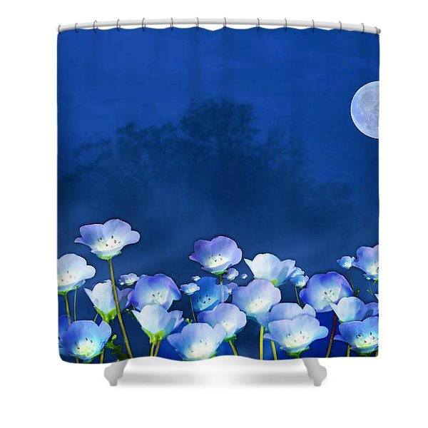 Cornflowers In The Moonlight Shower Curtain