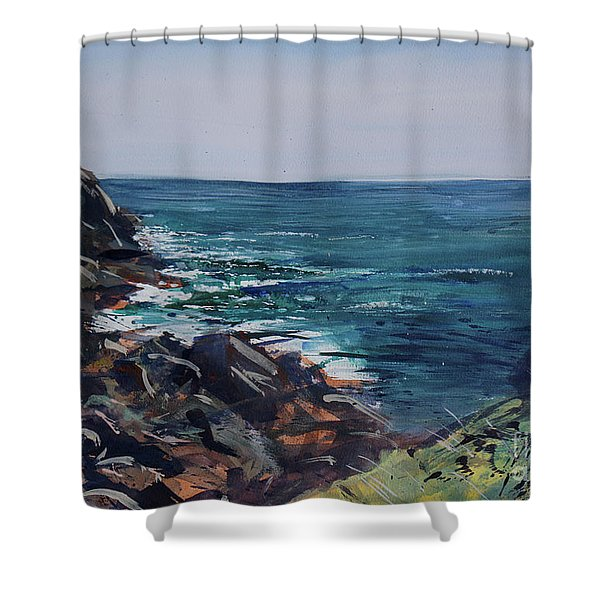 Shower Curtain featuring the painting Cornish Clffs by Genevieve Brown