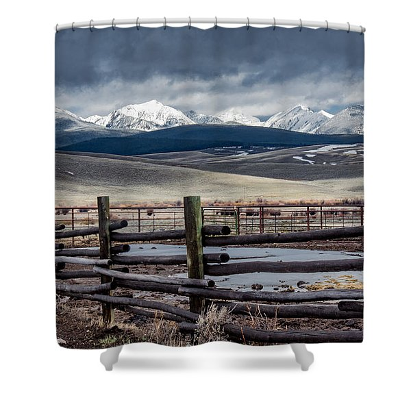 Corrals Near The Big Hole River  Shower Curtain
