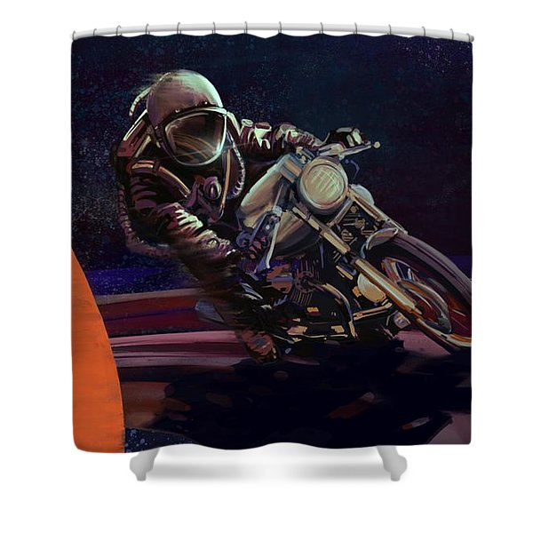 Shower Curtain featuring the painting Cosmic Cafe Racer by Sassan Filsoof