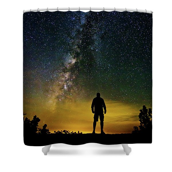 Cosmic Contemplation Shower Curtain