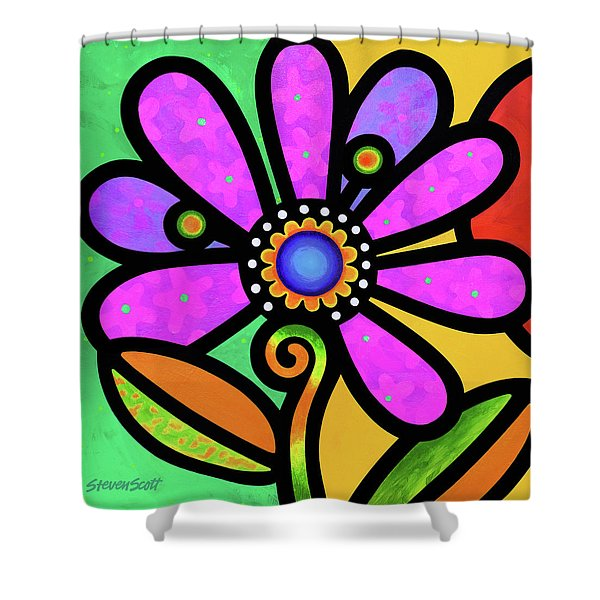 Cosmic Daisy In Pink Shower Curtain